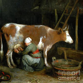 A Maid Milking A Cow In A Barn by Audrey Jeanne Roberts