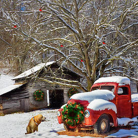 A Nostalgic Christmas Eve Painting by Debra and Dave Vanderlaan