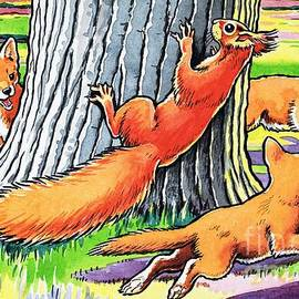 Harry M Pettit - A Red squirrel and fox cubs