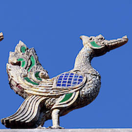 A Rooftop Swan Trio Sculpture at a Neighborhood Temple, Chiang M by Derrick Neill