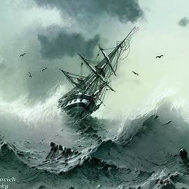 A Sinking Ship -1854 After The Original By Ivan Konstanovich Aivazovsky L A S by Gert J Rheeders