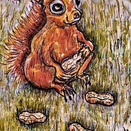 A Squirrel Eating His Nuts by Geraldine Myszenski