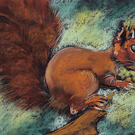 A squirrel with a bushy tail on a twig with a nut in its paws. Pastel drawing. by Elena Sysoeva