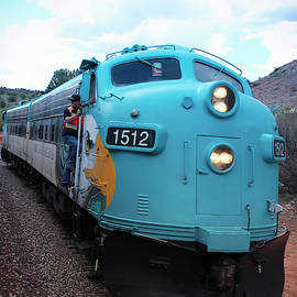 A View of the Verde Canyon Railroad Train Locomotive, Clarkdale, by Derrick Neill