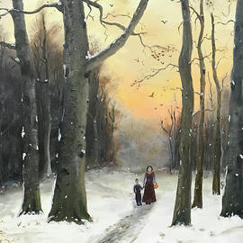 A Walk in The Woods - 20X16 Oil on Canvas by Hyacinth Paul by Hyacinth Paul
