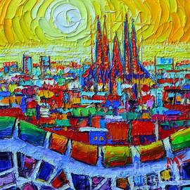 Abstract Barcelona Sunrise Sagrada Familia From Park Guell With Colorful Abstract City Patterns by Ana Maria Edulescu