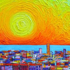 ABSTRACT CITY PATTERNS AT SUNRISE textural impressionist impasto knife cityscape Ana Maria Edulescu by Ana Maria Edulescu