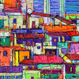 ABSTRACT CITY PATTERNS tep a8 textural impasto palette knife oil cityscape by Ana Maria Edulescu by Ana Maria Edulescu