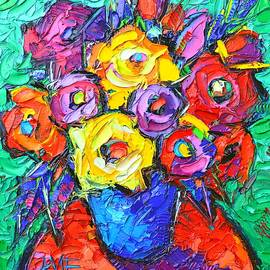 Ana Maria Edulescu - ABSTRACT COLORFUL ROSES impasto textural palette knife oil painting flowers art Ana Maria Edulescu