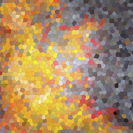 Abstract drawing of fire. Mosaic. Fire on a gray background by Elena Sysoeva
