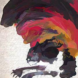 Abstract Ink Blot Cats  by Joan Stratton