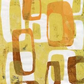 Abstract Mod Orange Brown Yellow Gelli by Jane Linders