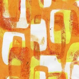 Abstract Orange Mod Mid Century Modern Gelli by Jane Linders