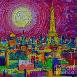 ABSTRACT PARIS FULL MOON NIGHT stylized cityscape by Ana Maria Edulescu by Ana Maria Edulescu