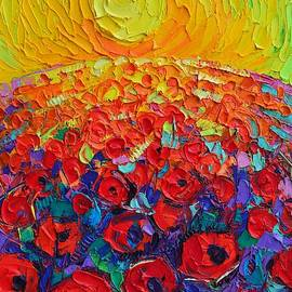 ABSTRACT ROUND POPPIES FIELD AT SUNRISE textural impressionist impasto palette knife oil painting by Ana Maria Edulescu
