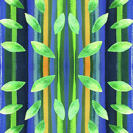 Abstract Trees And Leaves Pattern In Watercolor by Irina Sztukowski