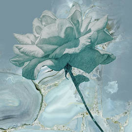 Abstract Turquoise Rose by Rosalie Scanlon