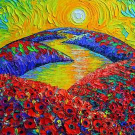 ABSTRACT TUSCANY POPPIES AT SUNRISE textural impasto palette knife oil painting Ana Maria Edulescu by Ana Maria Edulescu
