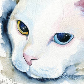 Adele - White Cat Portrait by Dora Hathazi Mendes
