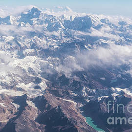 Aerial View Of The Kangchenjunga Mountain Between Nepal And Indi by Didier Marti