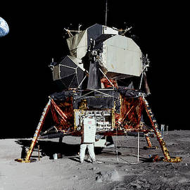 Aldrin And Apollo 11 Lunar Module Eagle Panorama by Weston Westmoreland