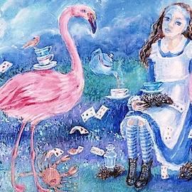 Alice in Wonderland  -Flamingo Croquet Anyone ? by Trudi Doyle