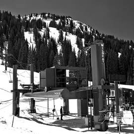 Alta Wildcat Chairlift Black And White by Adam Jewell