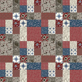 Americana Patchwork Quilt Red White Blue by Audrey Jeanne Roberts