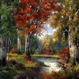 An Autumn Woodland Scene After The Original Painting By Alois Arnegger  L A S by Gert J Rheeders