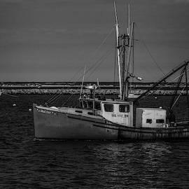 Anchored Fishing Troller Bw by Susan Candelario