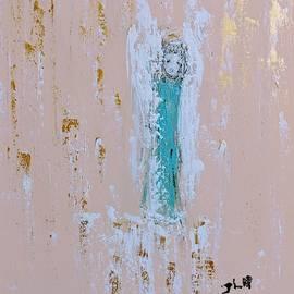 Angel child under golden raindrops  by Jennifer Nease