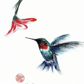 ANGEL - Mixed media hummingbird painting/drawing by Rebecca Rees