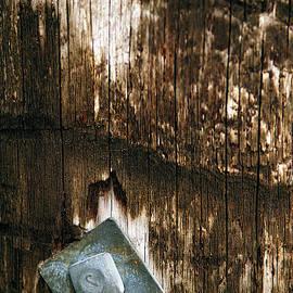 Angled Bolt In Weathered Wood by Kae Cheatham
