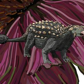 Ankylosaurus in Echinacea Flower by Joan Stratton