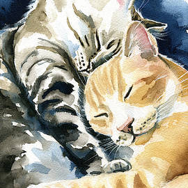 Annie and Michael Tabby Cat Painting by Dora Hathazi Mendes