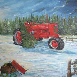 Antique Tractor At The Christmas Tree Farm by Nicole Angell