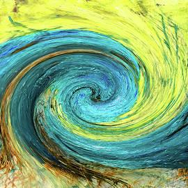 Aqua Yellow Abstract by Katy Hawk