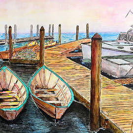 At The Dock In Gloucester Massachusetts by Michele A Loftus