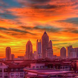 Atlanta Midtown Sunrise Aglow Atlantic Station The Commons Art by Reid Callaway