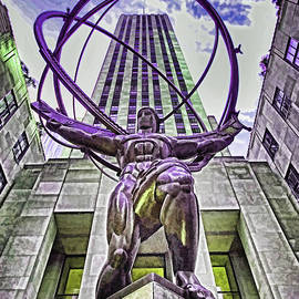 Atlas Statue - Rockefeller Center N Y C - Photopainting by Allen Beatty