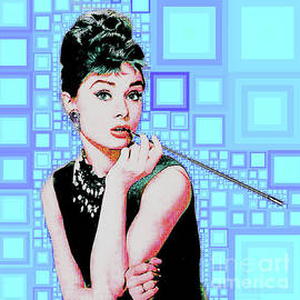Audrey Hepburn Breakfast At Tiffanys in MCA Mid Century Abstract Squares 20190219 m168 by Wingsdomain Art and Photography