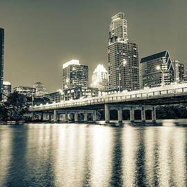 Austin Texas Skyline Over Lady Bird Lake - Sepia Edition by Gregory Ballos