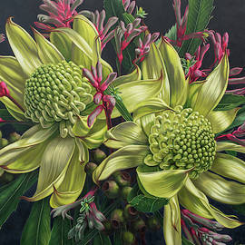 Australian Flora in Green and Pink by Fiona Craig