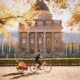 Autumn, Cycling In The Park, Munich, Germany by Philip Preston