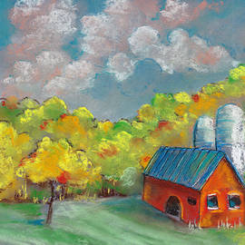 Autumn landscape with house and harvest drawing by pastel by Elena Sysoeva