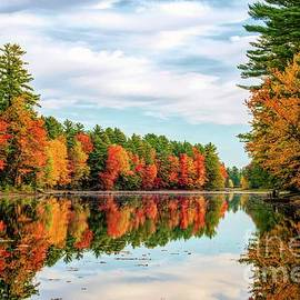 Autumn Reflections on the Androscoggin River - Turner Maine by Jan Mulherin