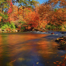 Autumn Reflections On The Oconaluftee River by Greg Norrell