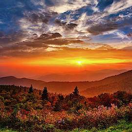 Autumn Sunset in the Blue Ridge Panorama by Dan Carmichael