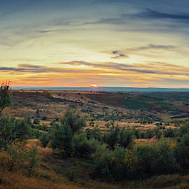 Autumn Sunset Over Hills by Psycho Shadow
