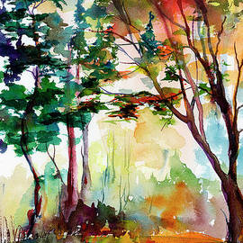 Autumn Trees Watercolors by Ginette Callaway